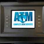 ATM display screen with logo
