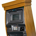 ATM cabinet in woodframe