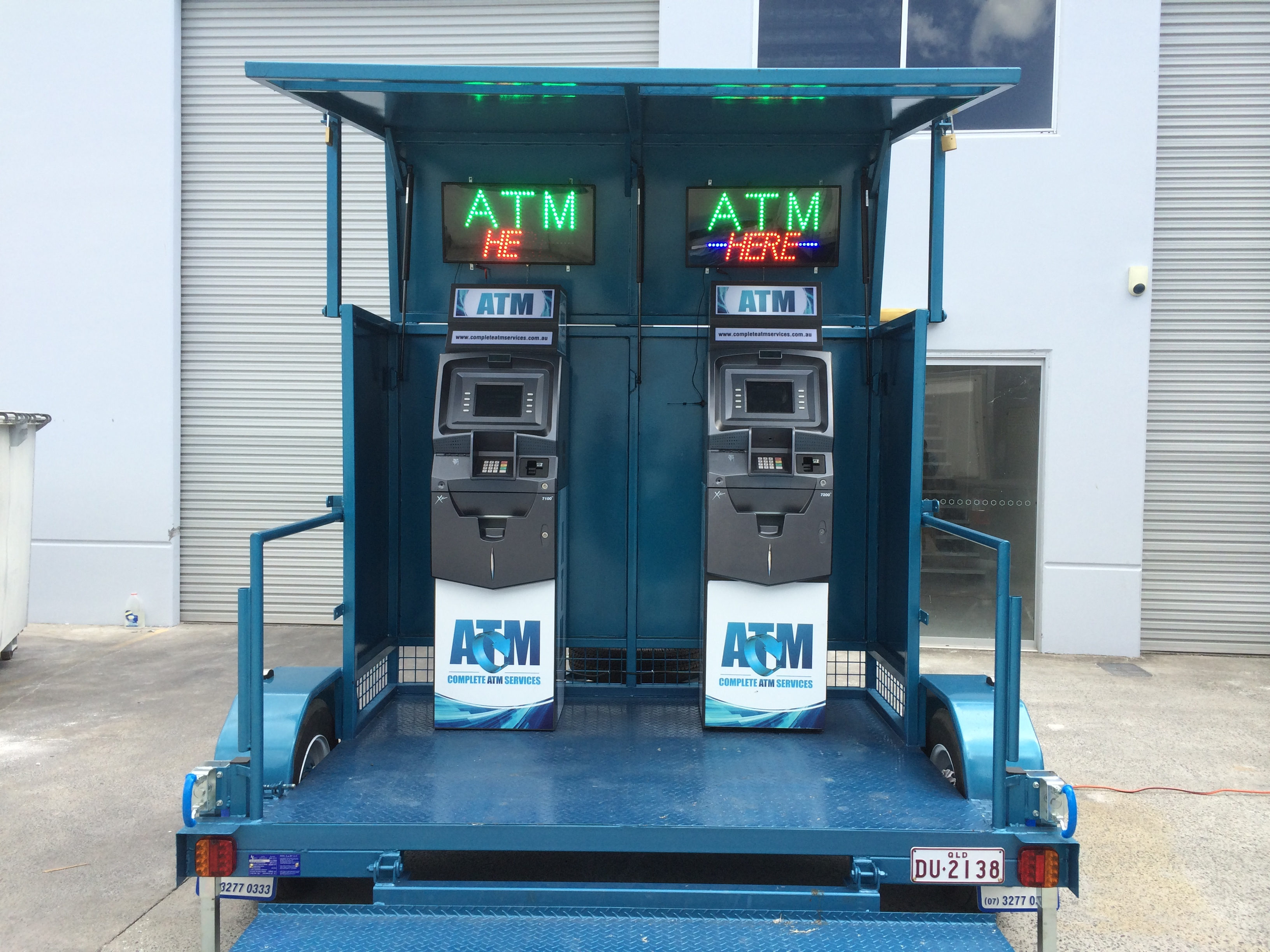 Blue ATM Trailor with 2 ATMs
